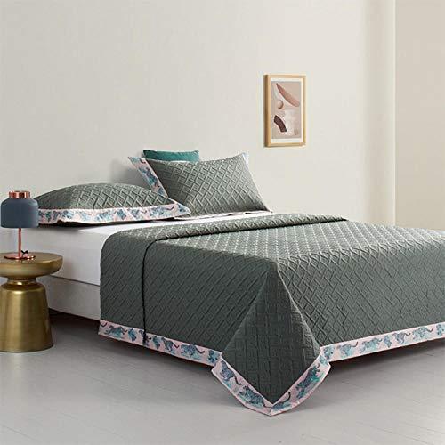 Rubyurphy Couette en Coton Doux, Couverture élégante et Noble de Salon de Chambre à Coucher-Vert Clair_245x270cm