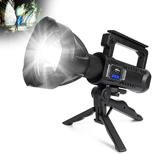 Rechargeable LED Spotlight Flashlights 90000 High Lumens, Super Bright Flashlight with 4 Modes IPX5 Waterproof, Large Searchlight for Fishing, Hiking and Camping with Tripod and USB Output