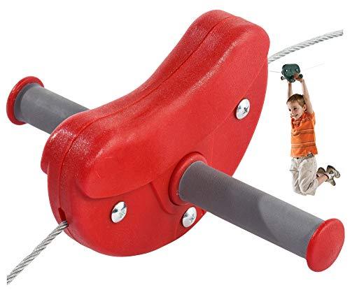 Gartenpirat Seilbahn para für Kinder im Garten Kabelbahn 30 m Farbe rot, TÜV