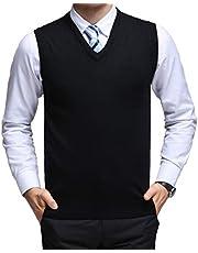 YinQ ニットベスト Vネック ウール+アクリル トップス シンプル 暖かい カジュアル ビジネス メンズ セーター