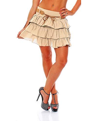 Zarmexx süsser Damen Volantrock Sommerrock Minirock mit Gürtel Baumwolle Rüschen Rock (beige, one Size)