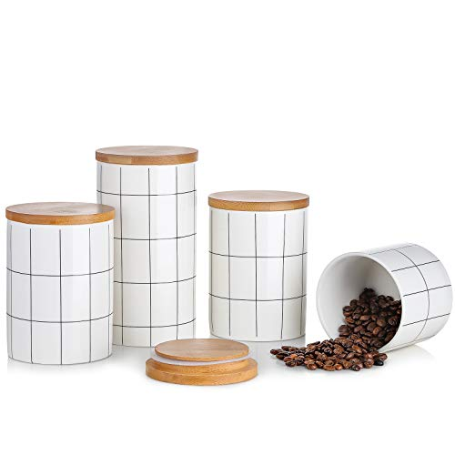 ground coffee storages Canisters Sets For Kitchen Counter, BEYONDA Kitchen Canisters Set Of 4 Ceramic Jars With Airtight Bamboo Lid, Heat & Cold Resistant Portable Coffee Canister For Ground Coffee, Tea, Sugar, Spices