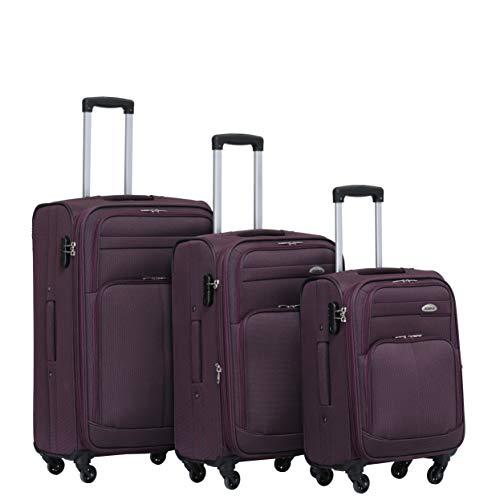 BEIBYE 4 Rollen Reisekoffer 3tlg.Stoffkoffer Handgepäck Kindergepäck Gepäck Koffer Trolley Set-XL-L-M (Lila, Set)