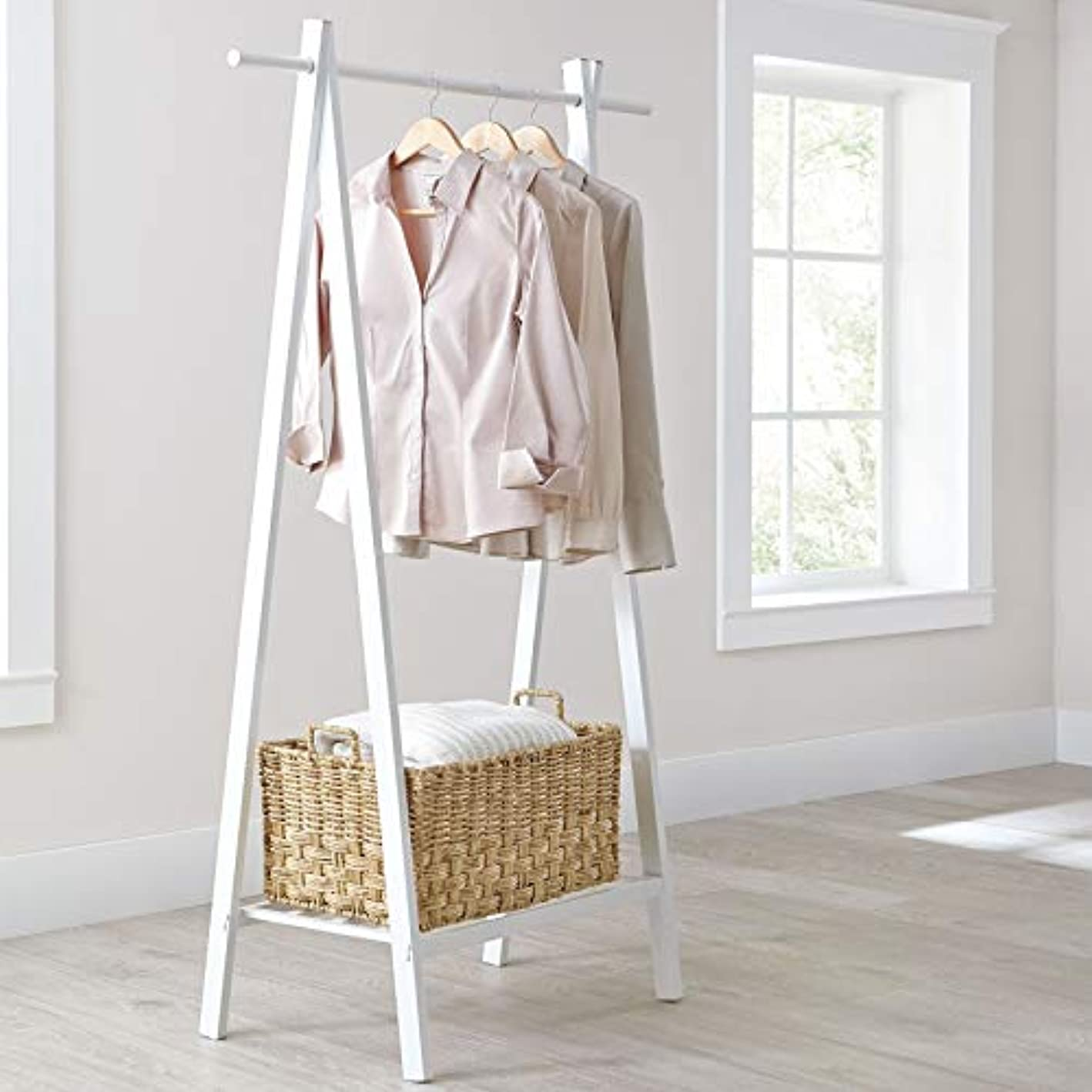 BrylaneHome Mia Metal Garment Rack - White