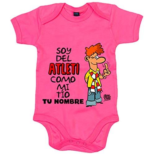 Body bebé soy del Atleti Atlético de Madrid como mi tio personalizable con nombre - Rosa, 6-12 meses