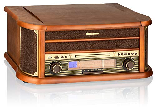 Roadstar HIF-1993BT - Retro wood HiFi system with turntables (Bluetooth, FM, CD) color wood