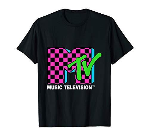 Classic MTV Logo Pink And Blue Checker Design T-Shirt