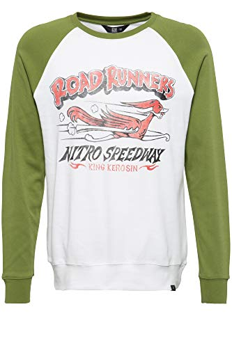 King Kerosin Herren Longsleeve Sweater | Herrenshirt | Rundhals | Raglan | Frontprint Road Runners