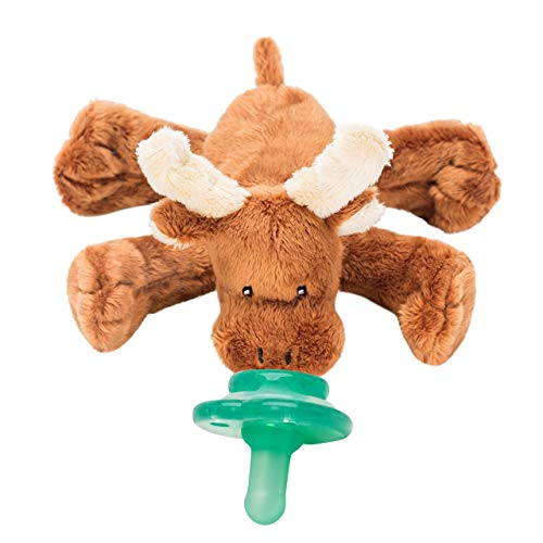 Nookums Paci-Plushies Buddies - Moose Pacifier Holder - Adapts to Name Brand Pacifiers, Suitable for All Ages, Plush Toy Includes Detachable Pacifier