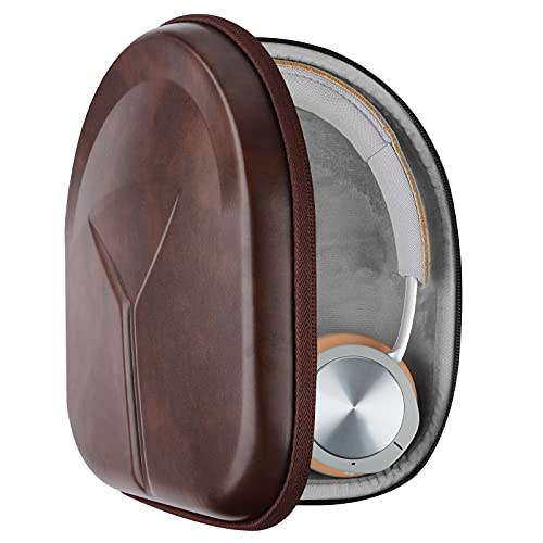 Geekria UltraShell Case Compatible with Bang & Olufsen Beoplay H9i, H95, H9, H8, H6, H4, H2 Headphones, Replacement Protective Hard Shell Travel Carrying Bag with Cable Storage (Dark Brown)