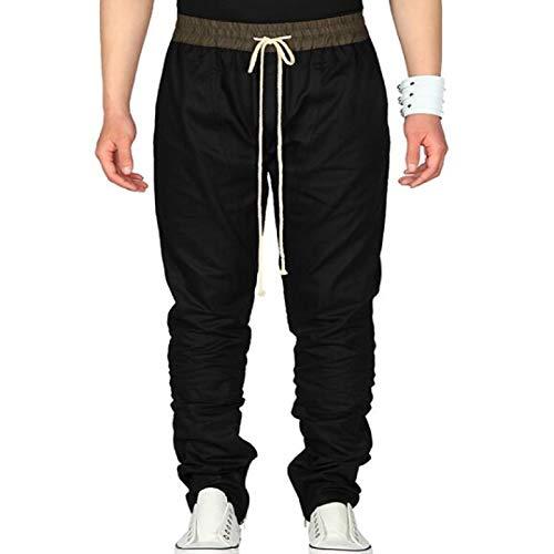 Pantalones Casuales de Corte Recto para Hombre Pantalones Transpirables de algodón de Corte Holgado con cordón Cintura elástica Pantalón de Color sólido X-Large