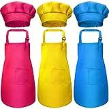 Juego de Delantal y Gorro de Cocinero de Niños 6 Piezas, Delantal de Niños Ajustable Delantal de Cocina con 2 Bolsillos para Cocinar Hornear (M, Rojo Rosado, Azul, Amarillo)