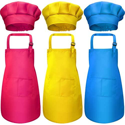 Juego de 6 Delantales de Gorro de Chef de Niños, Delantales Niños Delantales de Algodón Ajustables Delantales Babero de Cocina con 2 Bolsillos para Vestir Cocina Hornear Cocinar (Color 3, Large)
