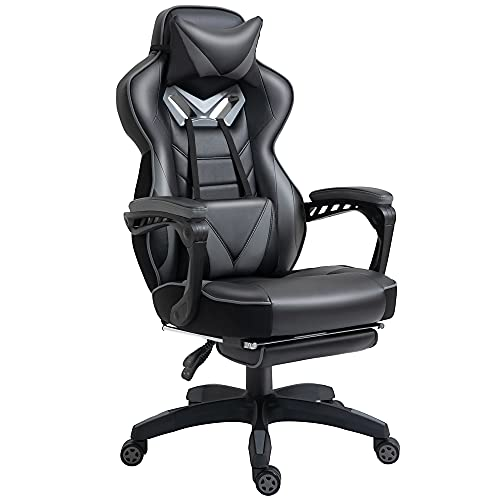 Vinsetto Ergonomic Racing Gaming Chair Office Desk Chair Adjustable Height Recliner with Wheels, Headrest,Lumbar Support Retractable Footrest Home Office, Grey