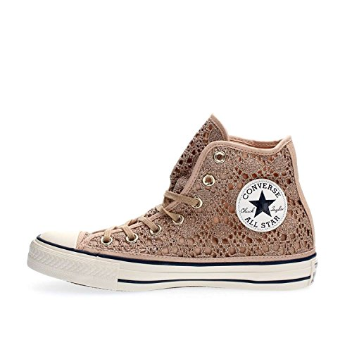 Converse 556772C CT AS HI Crochet Metallic Light Gold / Weiß / Marineblau, Gold - gold - Größe: 35 EU