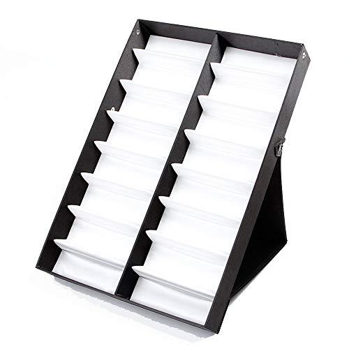HO-TBO Brillen Aufbewahrungsbehälter, 16 Stück Eyewear Sunglass Schmuck Uhren Display Storage Case Stand Finden Sie leicht und speichern Sie Ihre Brillen (Color : Black Cover)