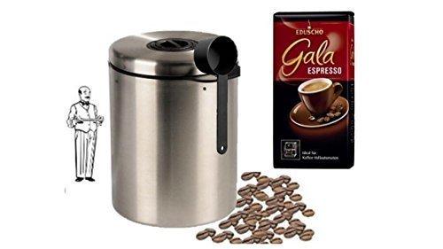 Eduscho Gala Espresso + Edelstahldose für 1 kg Kaffeebohnen Neu mit Silicabag von Conny Clever® zur Erhaltung der Aromastoffe von James Premium®