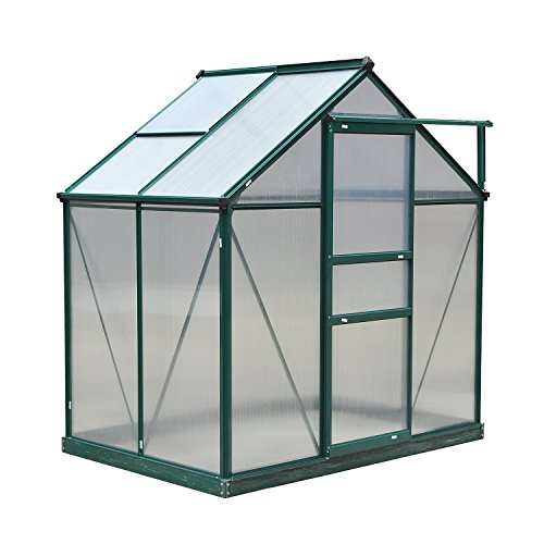 Outsunny 6' x 4' x 7' Walk-in Plant Greenhouse for Backyard/Outdoor Use with Window and Door, Aluminum Frame, PC Board