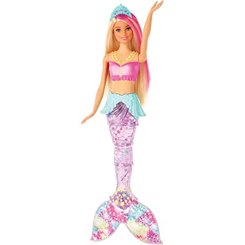 Barbie Dreamtopia Sparkle Lights Mermaid Doll with Swimming Motion & Underwater Light Shows,12-Inch with Pink-Streaked Blonde Hair