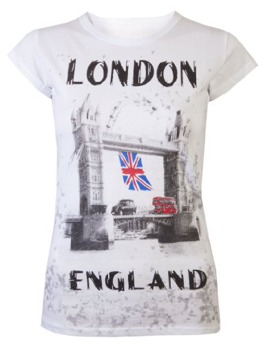 Dames Tops T Shirts Womens Union Jack Vlag Bus Londen Tops Super Kwaliteit Tee Wit