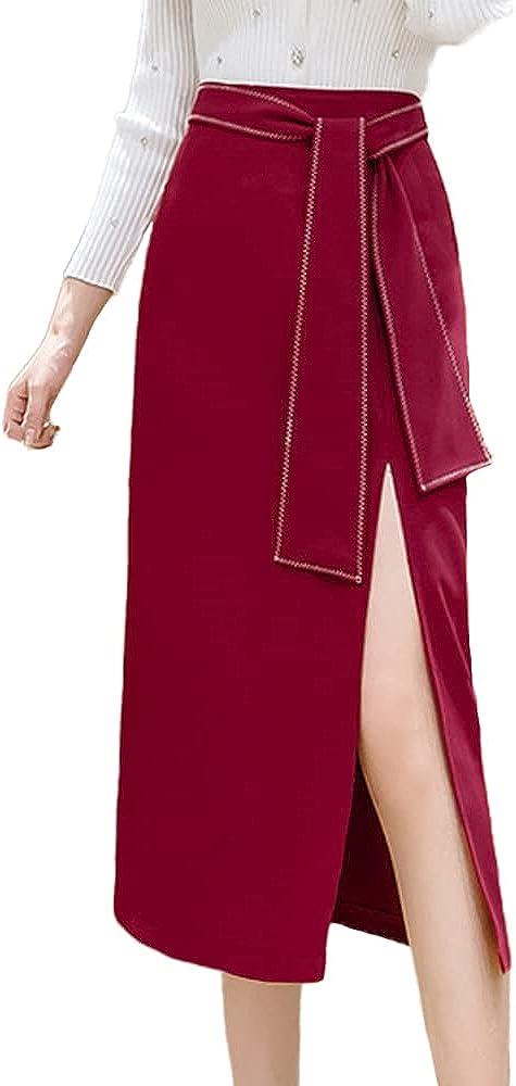 ATHX Women's Knee Length Solid A-Line Midi Skirt