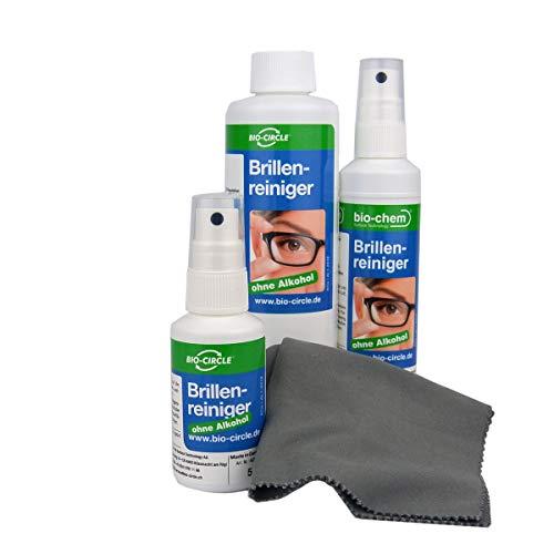 bio-chem Brillenreiniger-Spray mit Anti-Beschlag Funktion Antistatik-Spray Reinigungs-Set 50 ml + 100 ml Sprayflasche/ Pumpflasche + 250 ml Nachfüllflasche (400 ml) + hochwertiges Mikrofasertuch/ Bril