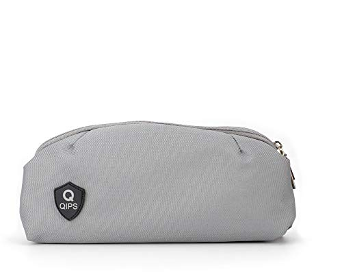 QIPS by HMI Multi Pocket Polyester Pencil Pouch Bag, Grey