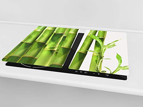 """Tempered GLASS Kitchen Board – Induction Cooktop cover - Glass Cutting Board; MEASURES: SINGLE: 23,62"""" x 20,47""""; DOUBLE… 4 TEMPERED GLASS Kitchen Boards, (cooktop covers, worktop savers or chopping boards), are both highly functional and beautiful is a must-have in every modern home; its colorful, artistic designs bring a sleek and contemporary style to your kitchen or dining area MULTIPURPOSE GLASS BOARD can be used as cutting board (meat, fish, vegetables & fruits), as a serving tray, glass trivet, hot pot stand, cheese fruit platter, pastry board, WORKTOP SAVER and as INDUCTION COOKTOP COVER (depending on the size chosen) SAFE & DURABLE GLASS CUTTING BOARD is made entirely from hygienic, impact and shatter resistant tempered glass, Polished edge with rounded corners; Anti-slip feet on the bottom;"""