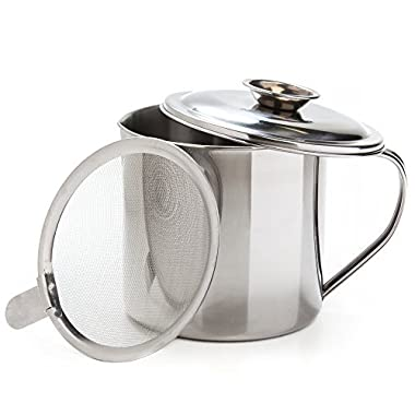 Cooking Oil And Bacon Grease Container With Strainer - 1.25 Quart Or 5 Cups - Best For Saving Grease To Add Flavor Later And Storing Cooking Oil - Stainless Steel Grease Filter, Separator And Keeper