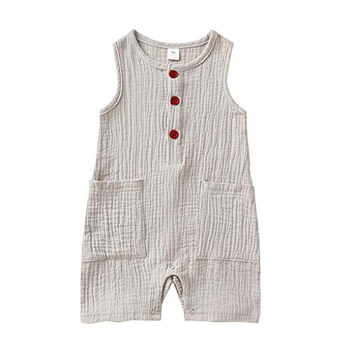 JoJody - Body para bebé unisex sin mangas de lino de algodón para verano (0-24 meses) gris 12-18 Meses