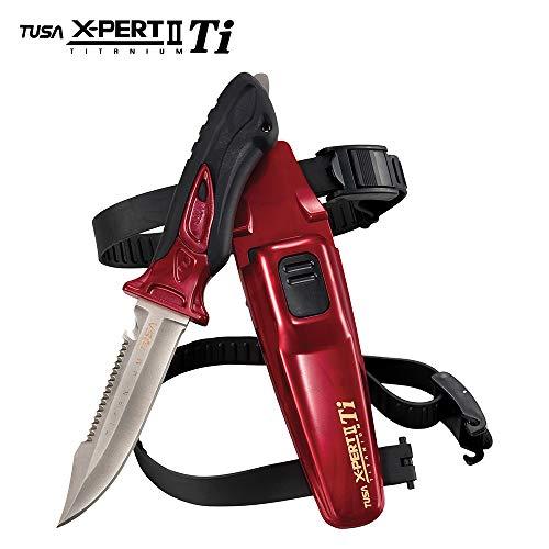 TUSA Unisex-Erwachsene FK-940 X-Ppert II Titanium Dive Knife Tauchmesser, Dunkelrot Metallic, 10 Inches Overall / 4.5 Inch Blade