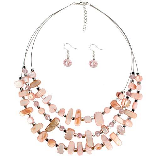 YAZILIND Exaggerated Irregular joyería Conjunto Multicapa Collar Colgante Pendientes señoras Regalo (Rosa)