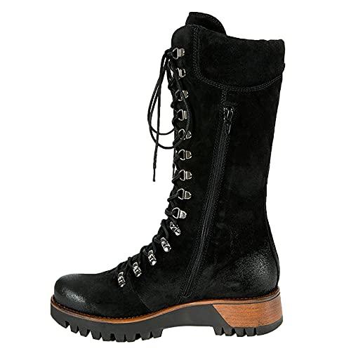 Combat boots Langschaft Reitstiefel Damen Schnürstiefel High Biker Boots Halbhoch Schlupfstiefel mit Plateau Absatz rutschfest Combat Boots Mode Outdoor Kampfstiefel Winterstiefel Lace Up Stiefel