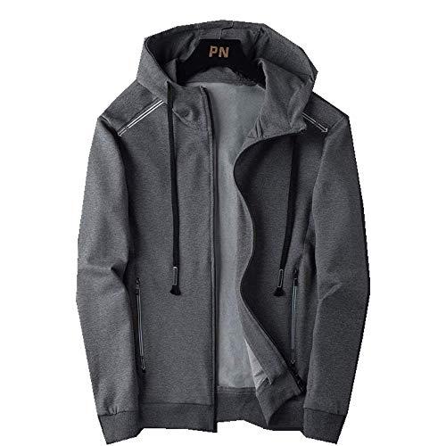 Sweater Herren Kapuzenpullover Herbst Casual Hoodie Herren Loose Hat Herren Pullover Frühling Herbst Sport Mantel Herren Gr. XXXX-Large, grau
