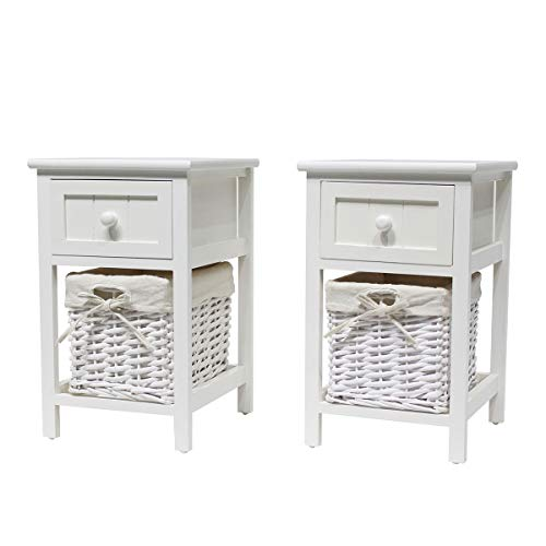 Hironpal White Bedside Table Set of 2 Shabby Chic Nightstand Storage Unit Bedroom Organizer Cabinet with Drawer Side End Table Wooden with Wicker Woven Basket (white)
