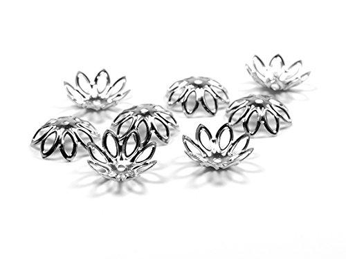 Perlkappen als Blüte in silberfarben platiniert für 14 mm Perlen 30 Stück von Vintageparts, DIY-Schmuck