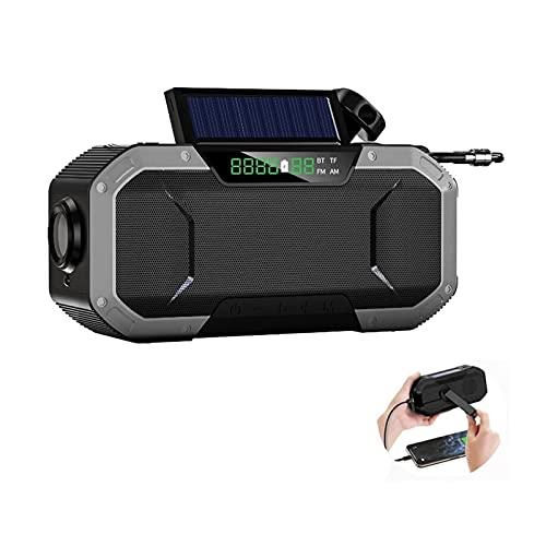 Radio Solar para Emergencias, Receptor De Radio De Manivela Portátil con Am/FM Y Banco De Energía Recargable De 5000mAh, Lámpara De Lectura con Linterna LED, Alarma SOS Y Brújula (Color : Silver)