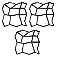 Wellz セメント型枠 ガーデニング 型枠 セメント レンガ 格子 金型 成形 舗道 モールド 装飾 DIY 3個セット (Bタイプ)