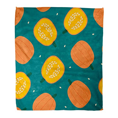 Manta Calabaza Dibujos Animados Calabazas Semillas Corte Entero Medio otoño Cosecha Cocina Ligero Mantener Caliente Sofá Manta 150 * 200Cm