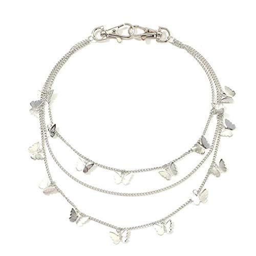 Europese en Amerikaanse stijl dames vlinder drielaagse broek ketting legering beplating mooie broek ketting zilver