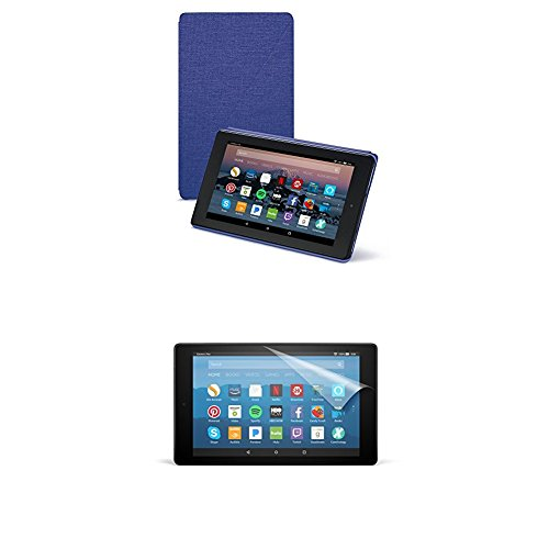 Amazon Cover (Cobalt Purple) and Screen Protector (Clear) for Fire HD 8 Tablet (7th Generation, 2017 Release)