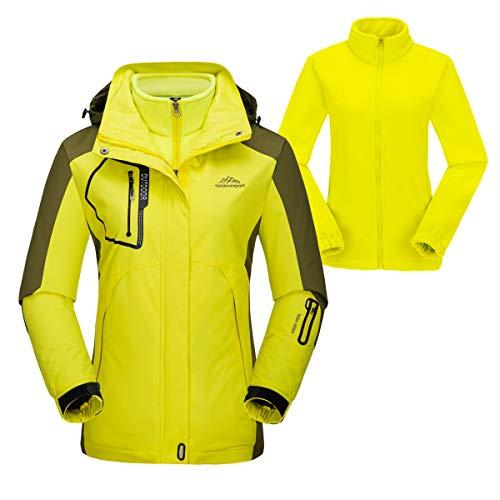 donhobo Damen 3-in-1 Outdoorjacke mit Fleece Jacke, Snowboardjacke Funktionsjacke wasserdichte Winddicht Atmungsaktiv Wanderjacke Regenjacken Gelb S