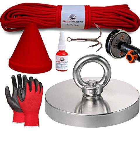 Magnetfischen Set - 600KG / 120mm   Inklusive 20m Seil, Handschuhe, Schraubensicherung, Haken, Schutzkappe und Adapter fur Teleskopstange   N52 - Ösenmagnet - Magnetangel - Magnet angeln - Bergemagnet