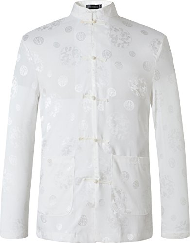 jeansian Uomo Giacca a Tasca Abiti della Dinastia Tang Chinese Traditional Cardigan Tang Suit Tang Shirt L860 White XXL