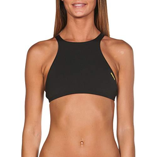 arena Damen Profi Trainings Bikinioberteil Crop Think (Schnelltrocknend, UV-Schutz UPF 50+, Chlorresistent), Black-Yellow Star (503), M