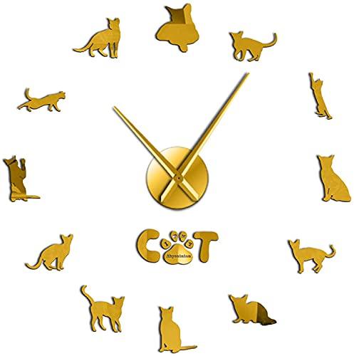 GXY Reloj de Pared Cocina Doméstica Cat de Pelo Corto Abysiniano Gato sin M Diy Reloj de Pared Mujer Mude Etiquete Etiipia Cat Seitivo Sala de la Casa Decoración para el Hogar Habitación Familiar Ade