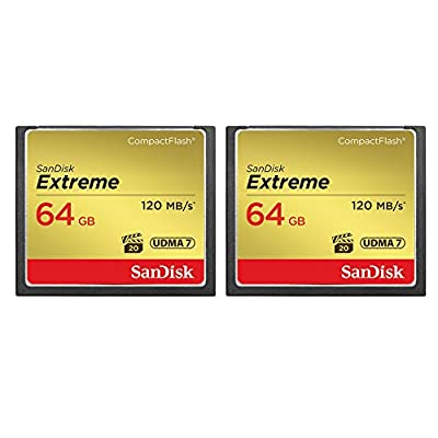 2-Pack of Sandisk Extreme CompactFlash 64GB Memory Card, (Total 128GB) UDMA 7, Up to 120 MB/s Read Speed (SDCFXS-064G-A46)