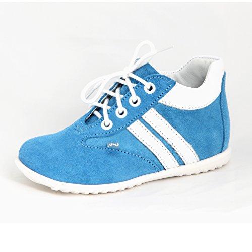 Babyschuhe Kinderschuhe Jungen Lauflernschuhe blau Streifen weiß Modell Emel 2045A-2 handmade (21)