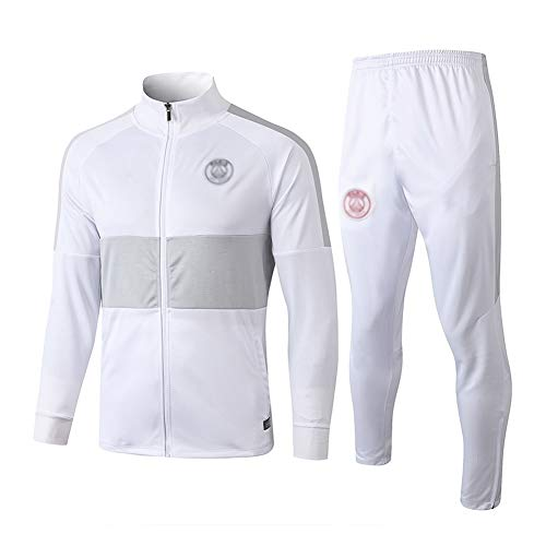 HIAO Football Training Suit Men's Long Sleeve Sportswear Suit Jersey White - A1068 502 (Color : White, Size : XL)