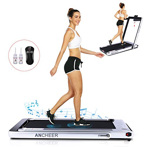 ANCHEER Under Desk Folding Treadmill,2 in1 Electric Exercise Treadmill,2.25HP Fitness Walking Running Machine with Remote Control&Bluetooth Speaker for Home Gym Office